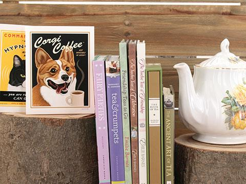 Books on tea, tea parties, and tea foods; birthday and note cards with tea and coffee themes.