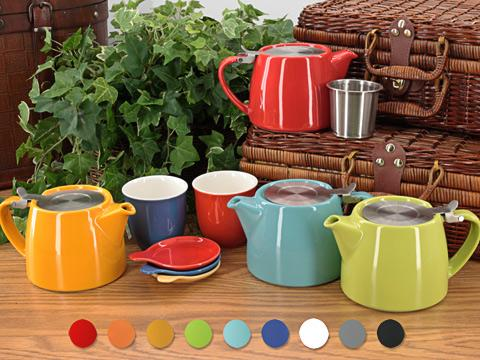Stump Teapots by Forlife are compact, stackable personal teapots in a wide range of colors.