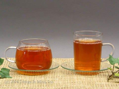 Glass cups and saucers