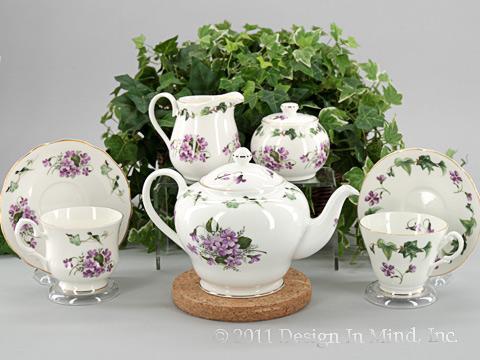 English Bone China Violets and Ivy