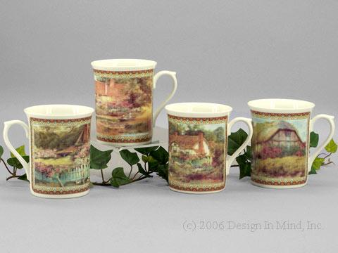 Staffordshire Bone China Rainbow Cottages
