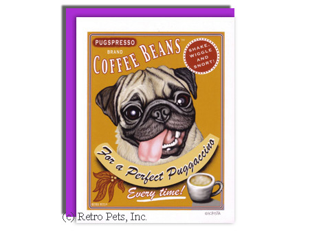 Pug and Coffee Greeting Card