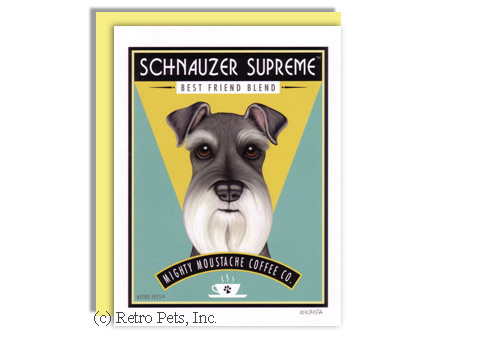 Schnauzer and Coffee Greeting Card