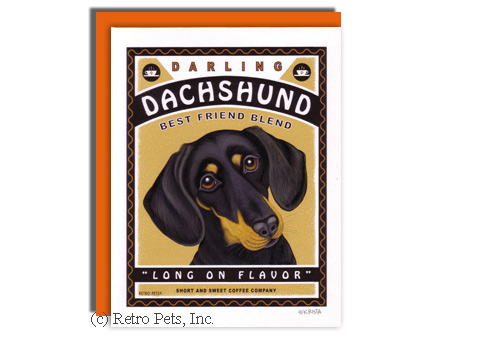 Dachshund and Coffee Greeting Card