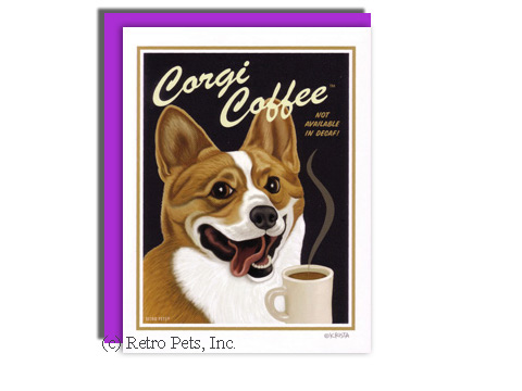 Corgi Coffee Greeting Card