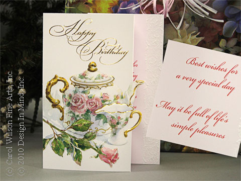 Teapot and Rose Birthday Card