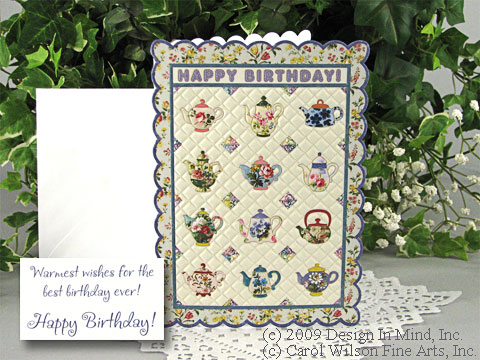 Quilted Teapots Birthday Card