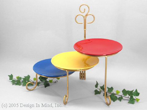 Gold finish 3 tier folding plate stand
