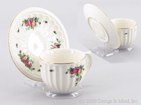 Clear Acrylic cup & saucer stand