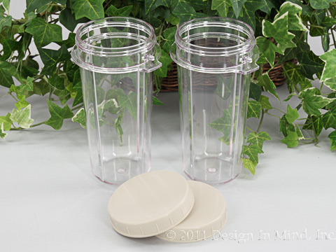 Tribest Personal Blender 16 oz Blending Cups with Lids (Set of 2)