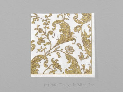 Baccarole Gold on White napkin