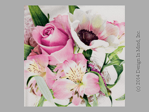 Rose on White napkin