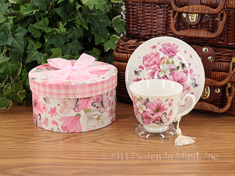 Butterfly Rose tea cup and saucer