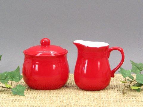 Bright red creamer sugar set
