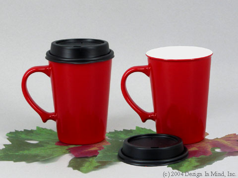 Bright red snaptop mug