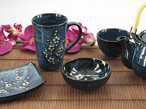 Blue Plum Japanese mug and bowl