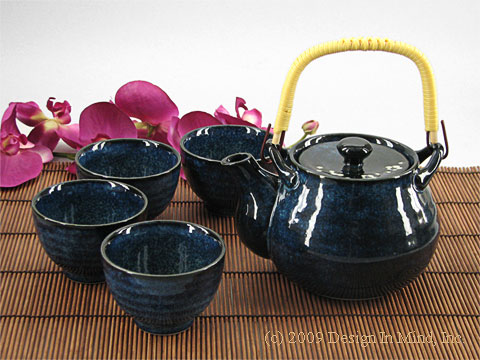 Blue Plum Japanese teapot and cups
