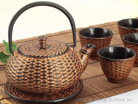 Cast Iron Teaset - Gold Wicker