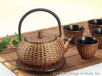 Cast Iron Teaset - Gold Wicker...
