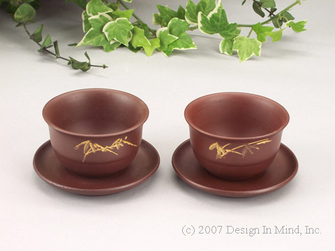 Yixing Brown Bamboo Cup and Saucer set