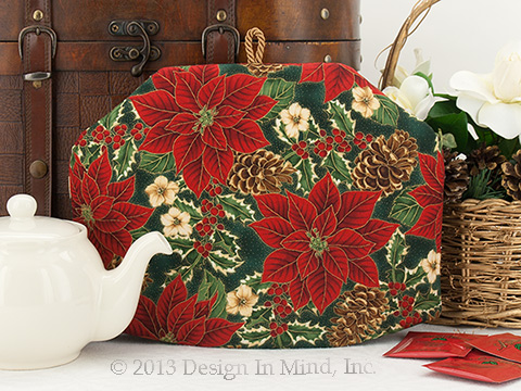 Tea Cozy - Poinsettia & Pinecone