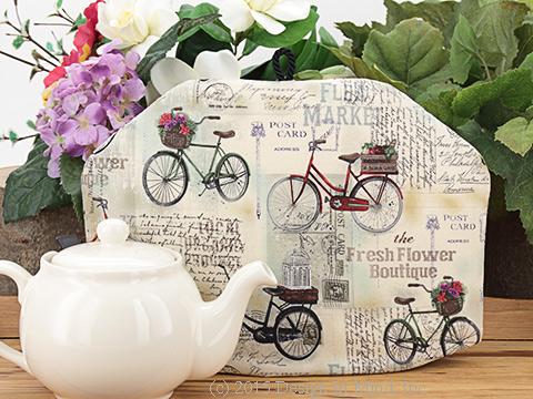 Tea cosies with leisure activity and hobbies as a theme.