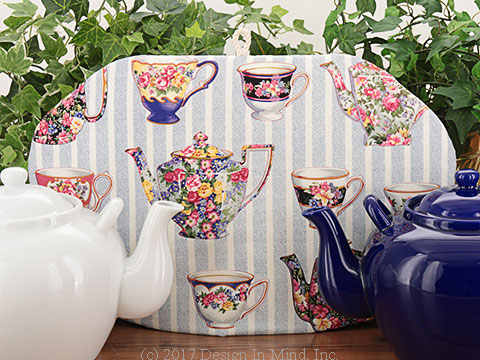 Cozies featuring tea and coffee themed prints.