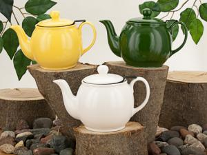 Classic teapot style with a built in Finum tea basket.