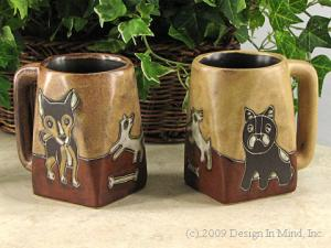 Mara stoneware mugs are etched and painted by hand.
