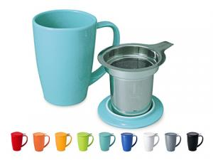 Stoneware and glass mugs with infusers and lids.