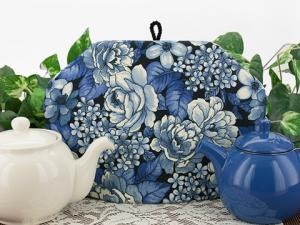 Tea cozies with a decidedly blue theme.