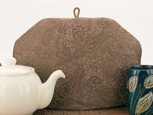 Neutral tea cosies fit a very modern decorating style.