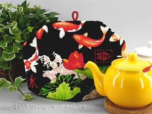 Tea cozies featuring fabrics with intense colors and Asian themes.