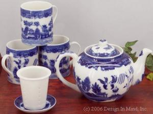 Traditional Blue Willow designs on porcelain teaware from China.
